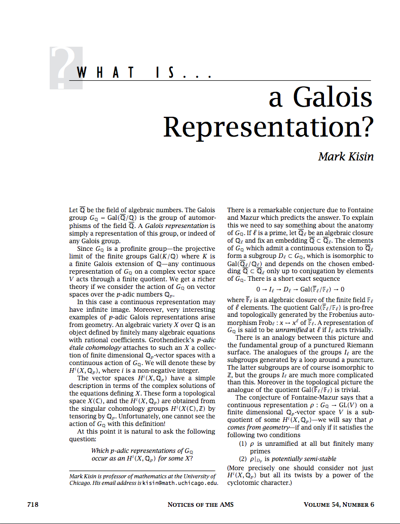 What is a Galois representation?