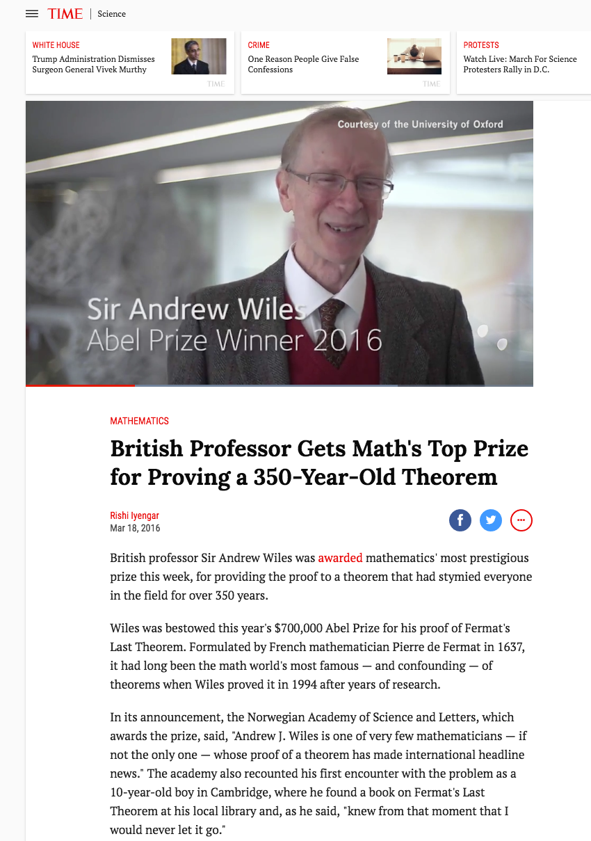 Time magazine - Andrew Wiles Abel prize